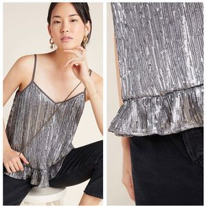 Anthropologie Gray Amelie Beaded Cami Tank Top